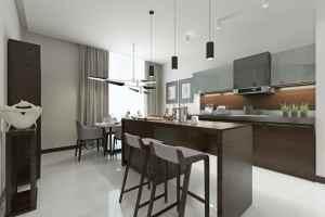striking grey U-shaped kitchen