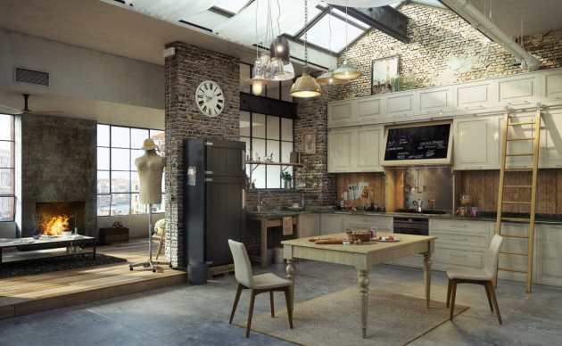 industrial kitchen with repurposed items