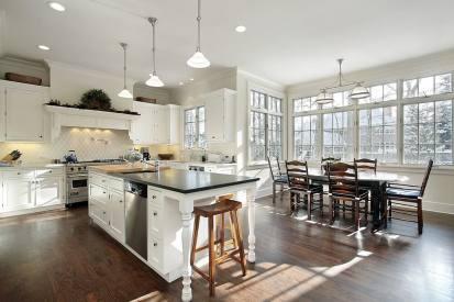 stunning open plan kitchen with beautiful windows