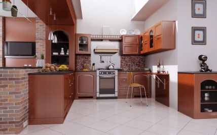 appealing small kitchen with wooden cabinets