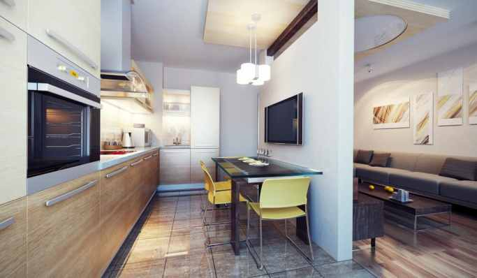 small open plan kitchen and living room due to lack of space