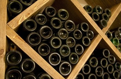 Wine stored in cellar
