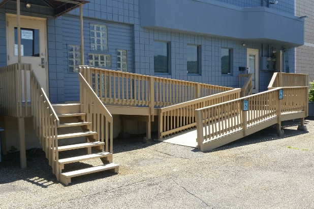 Installing Wheelchair Ramps General Info Tips Local Pros | Disabled Handrails For Outside Steps | Elderly | Full Width | 2 Step | Outdoor | Industrial Pipe