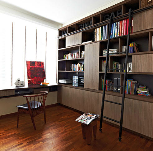 A Library Style Sliding Ladder A Cool Design Feature For