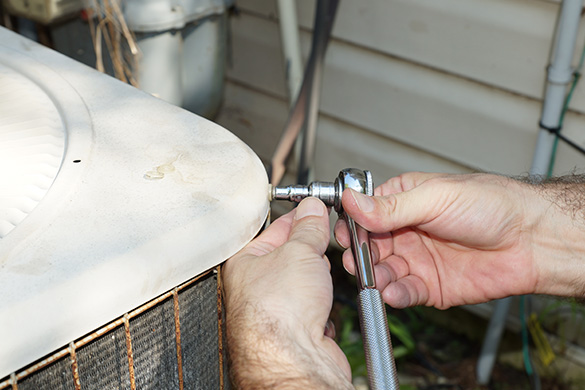 Replacing air conditioning condenser fan assembly and fastening screws