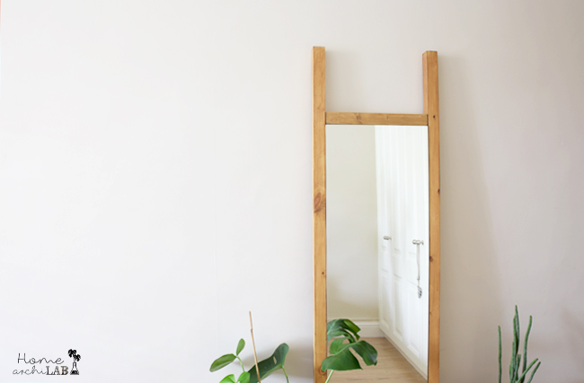 DIY FULL-LENGHT MIRROR MATCHING MY HEADBOARD IkeaHack: Mirror Minde Ikea transformed into a floor mirror