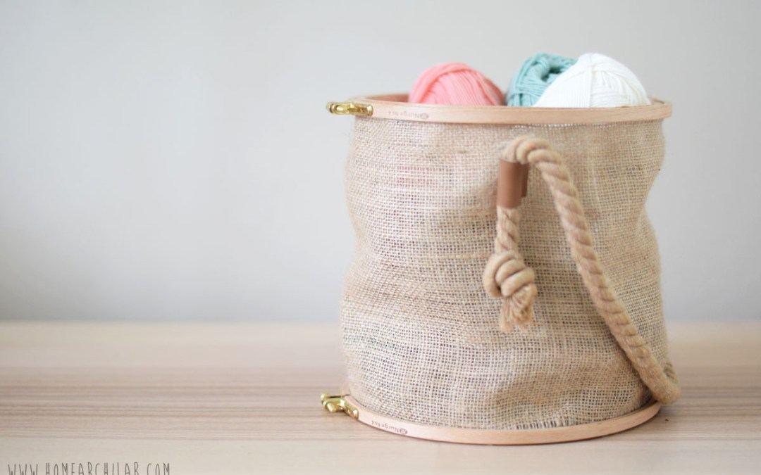HOW TO MAKE A SEWING BASKET USING EMBROIDERY HOOPS An easy DIY suitable for clumsy people, to make a multi-purpose decorative basket