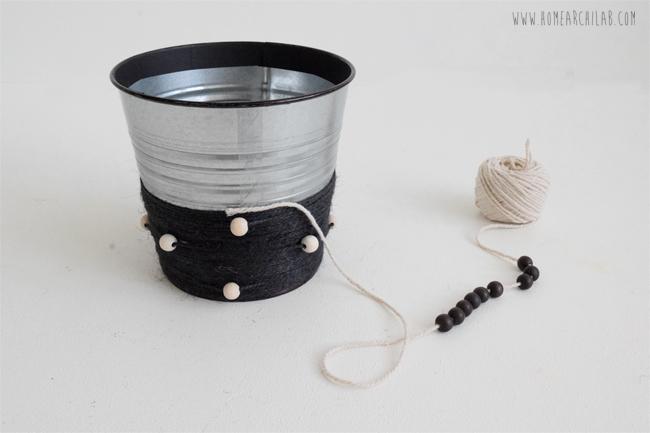 decoración de macetas con cuerda