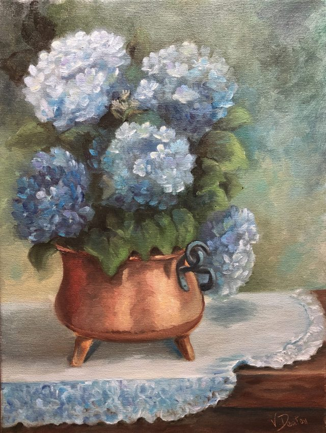 Copper Pot with Blue Hydrangeas