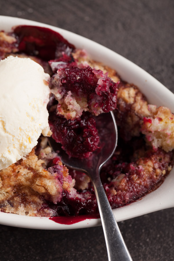 Boysenberry Cobbler topped with Vanilla Ice Cream