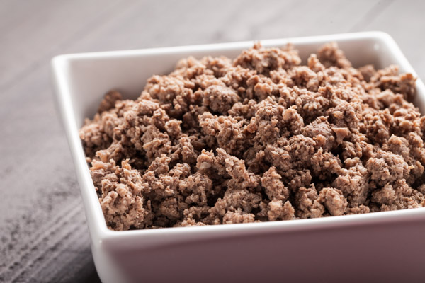 Cooked ground hamburger meat
