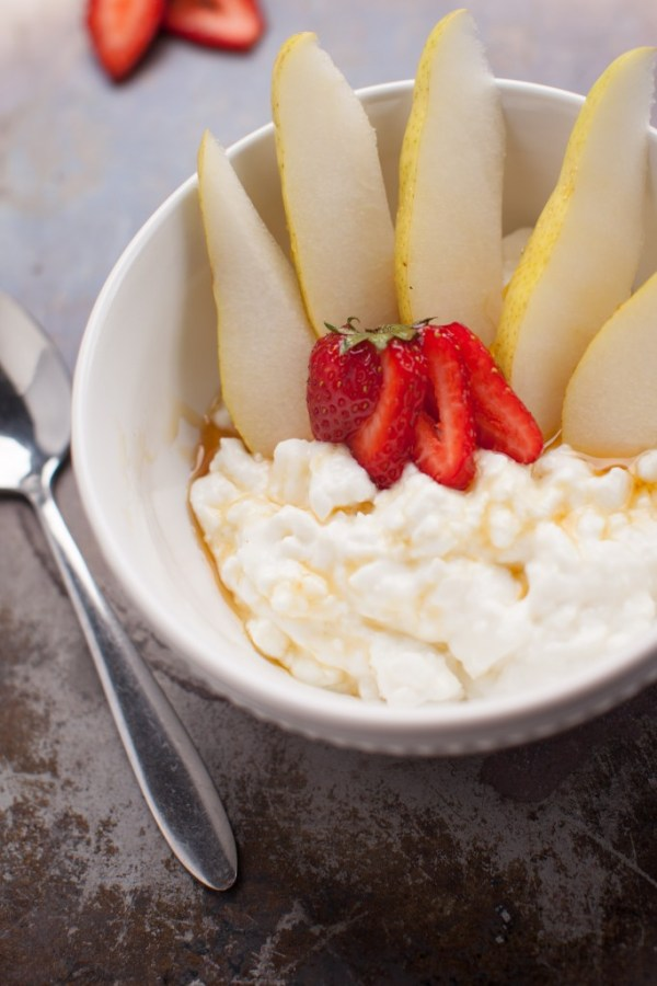 Cottage cheese with pears and strawberries - protein and produce idea!