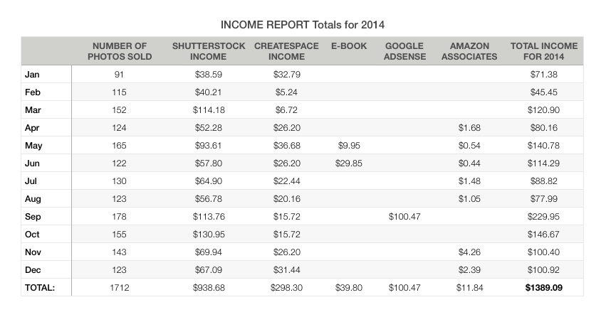Income Report Totals for 2014 - income report