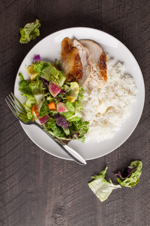 Italian garden salad with rice and rotisserie chicken