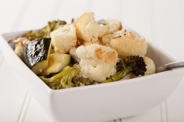 Roasted cauliflower, broccoli, and zucchini