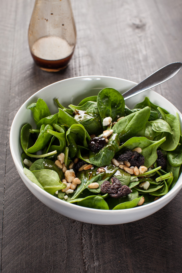Balsamic Spinach Cherry Feta Salad with Pine Nuts