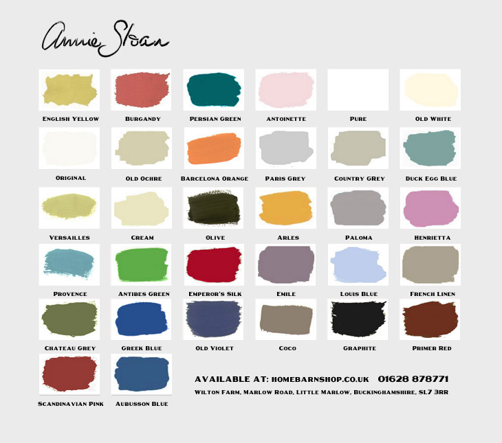 Annie Sloan Chalk Paint chart