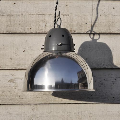Industrial-Spun-Metal-Pendant-Lamp-Shade-Chrome