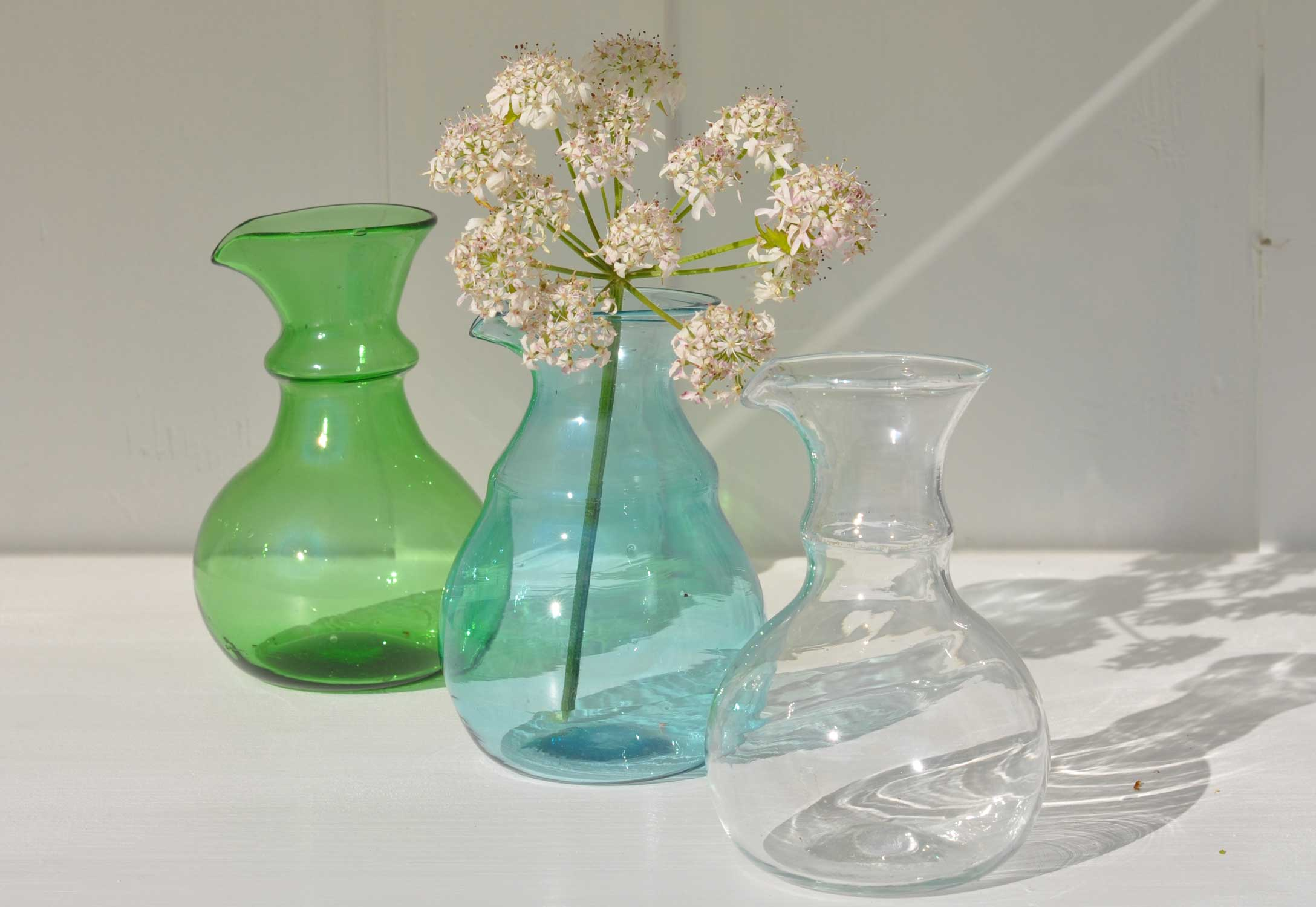 Hand Blown Glass Vase in Turquoise, Clear or Green