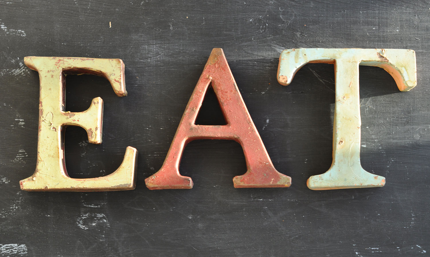 Tin Sign With Distressed Paintwork - EAT / TEA