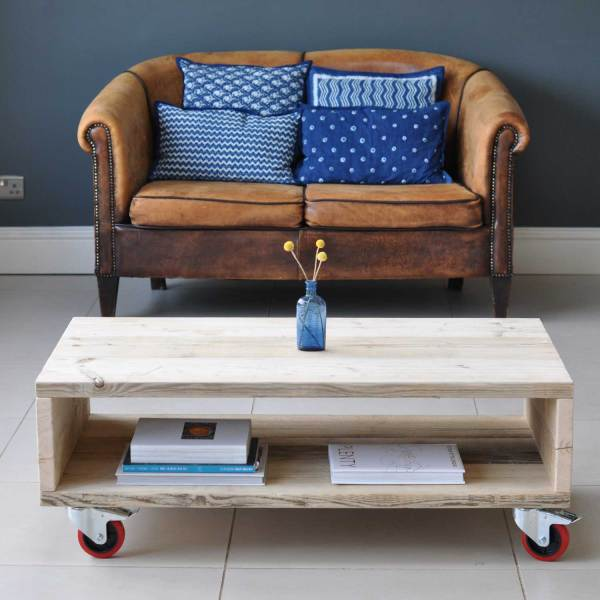 Salvaged Timber Wheeled Coffee Table