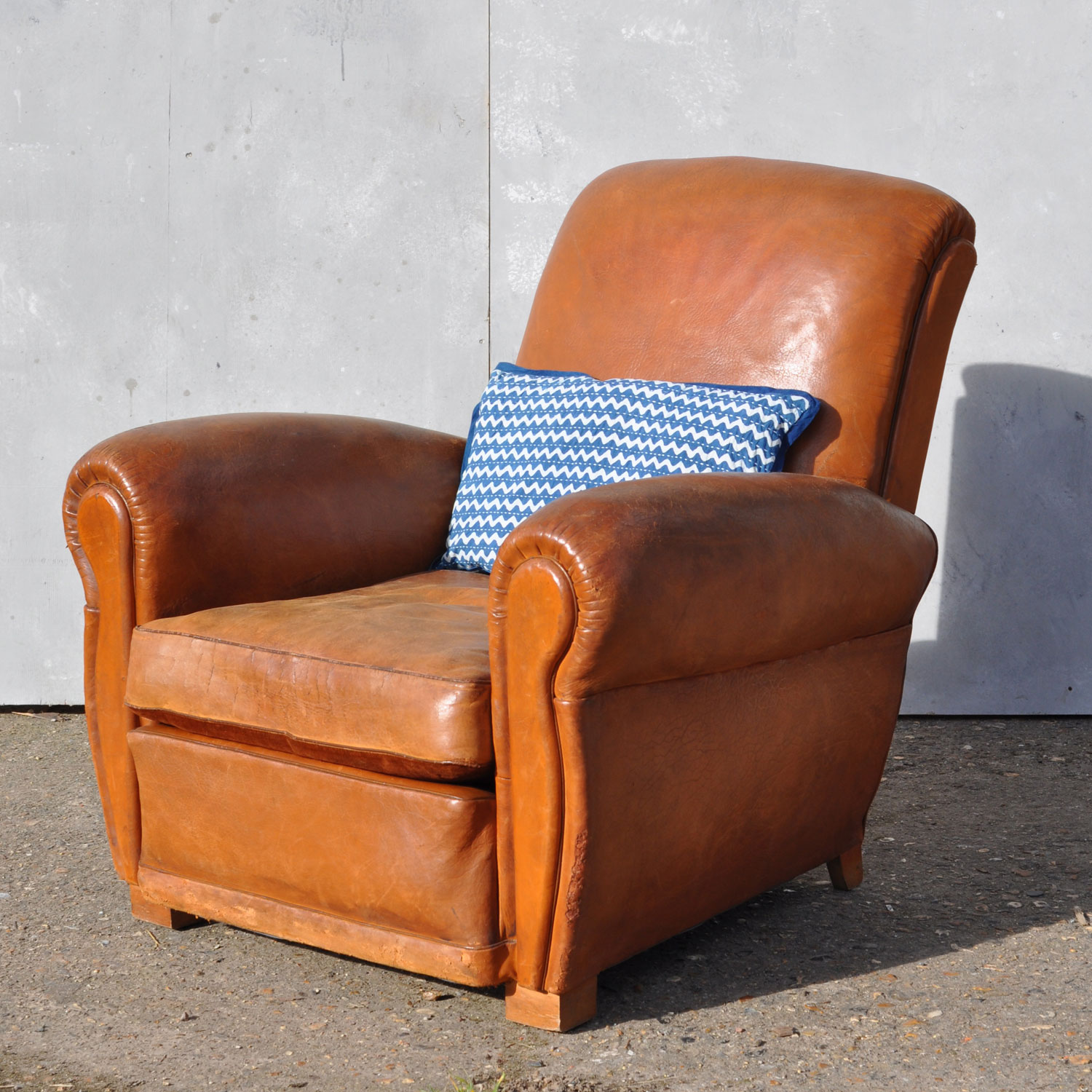Antique French Leather Club Arm Chair - Loire
