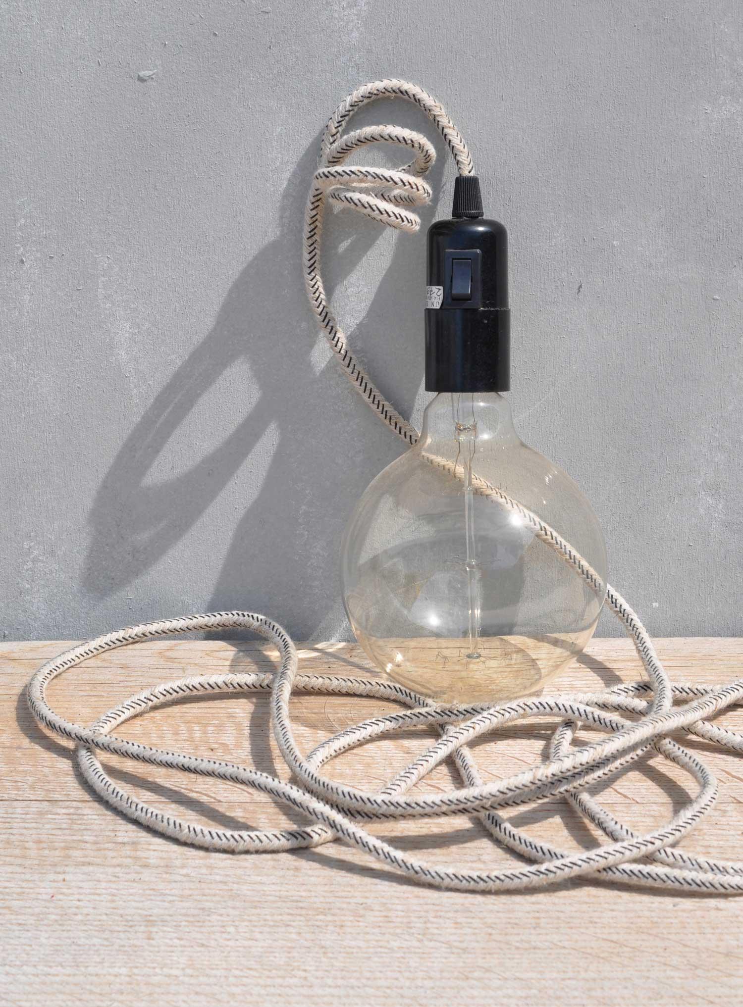 Natural Linen Cable Lamp Pendant