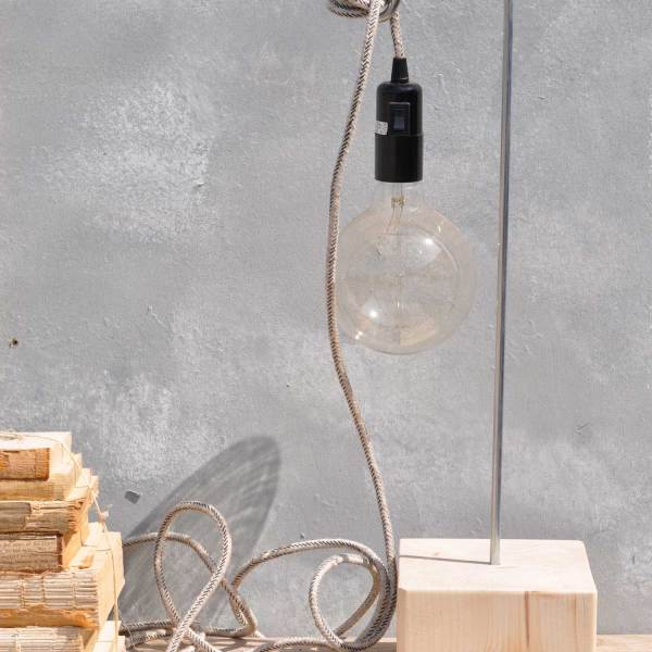 Timber Lamp Base & Linen Covered Lamp