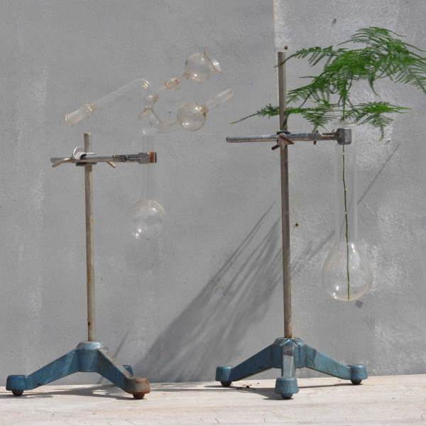 Vintage Glass Science Lab StandsVintage Glass Science Lab Stands