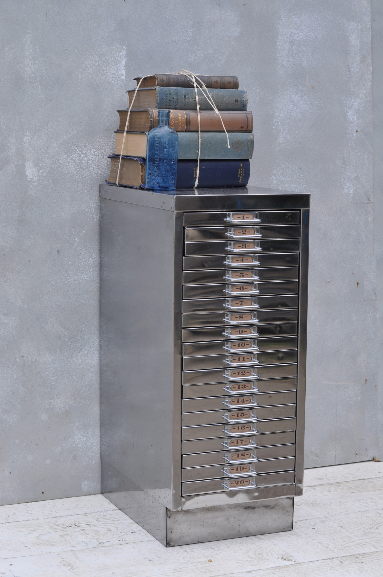 Vintage Industrial Steel Filing Cabinet 20 Drawer