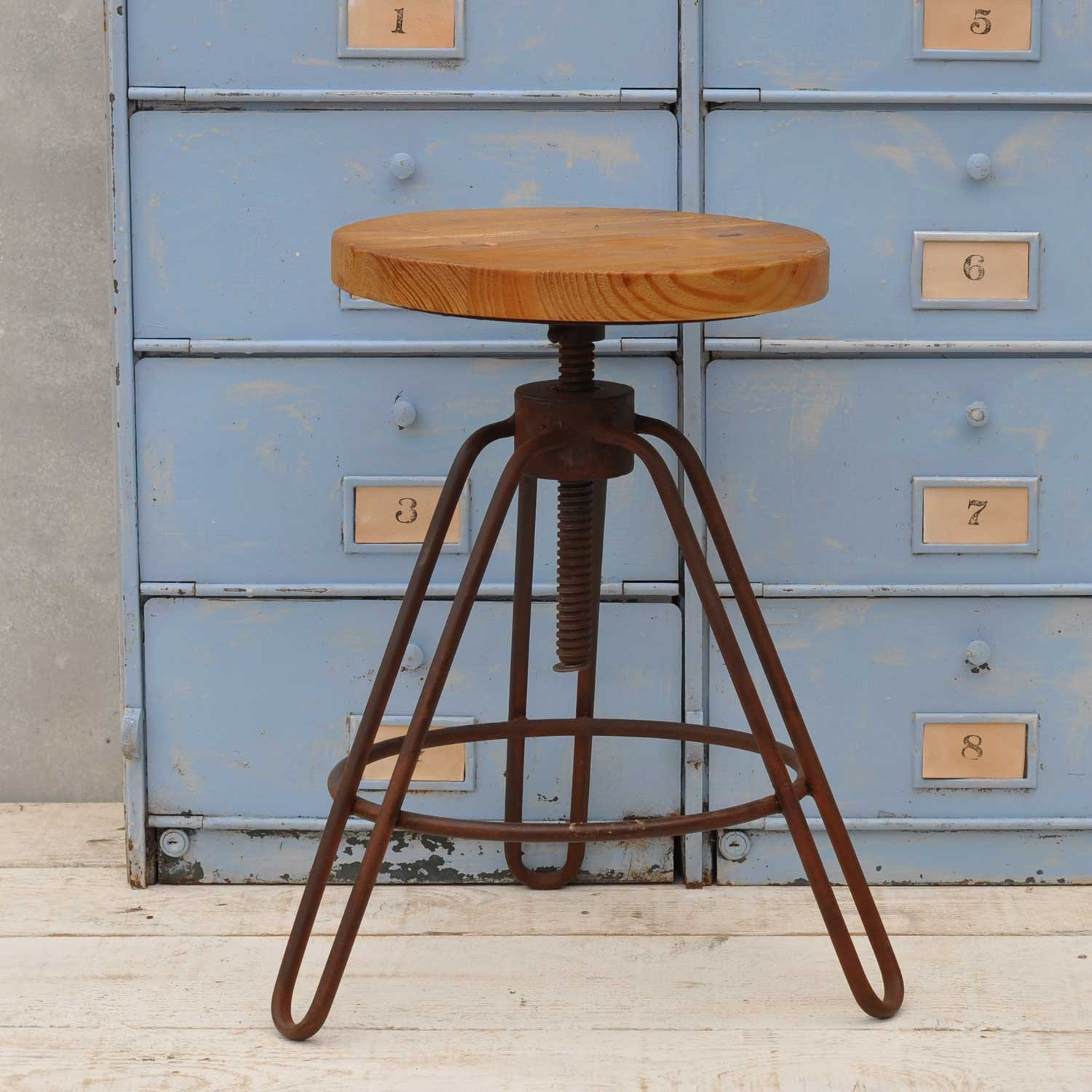 Industrial Adjustable Height Bar Stool Metal frame