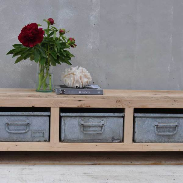 Industrial Reclaimed Timber Coffee Table Three Drawer