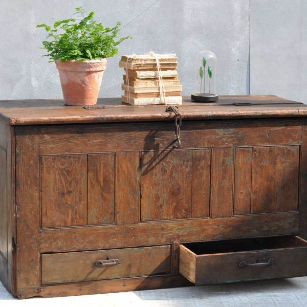 Antique Blanket Box Seamans Chest Trunk With Drawers