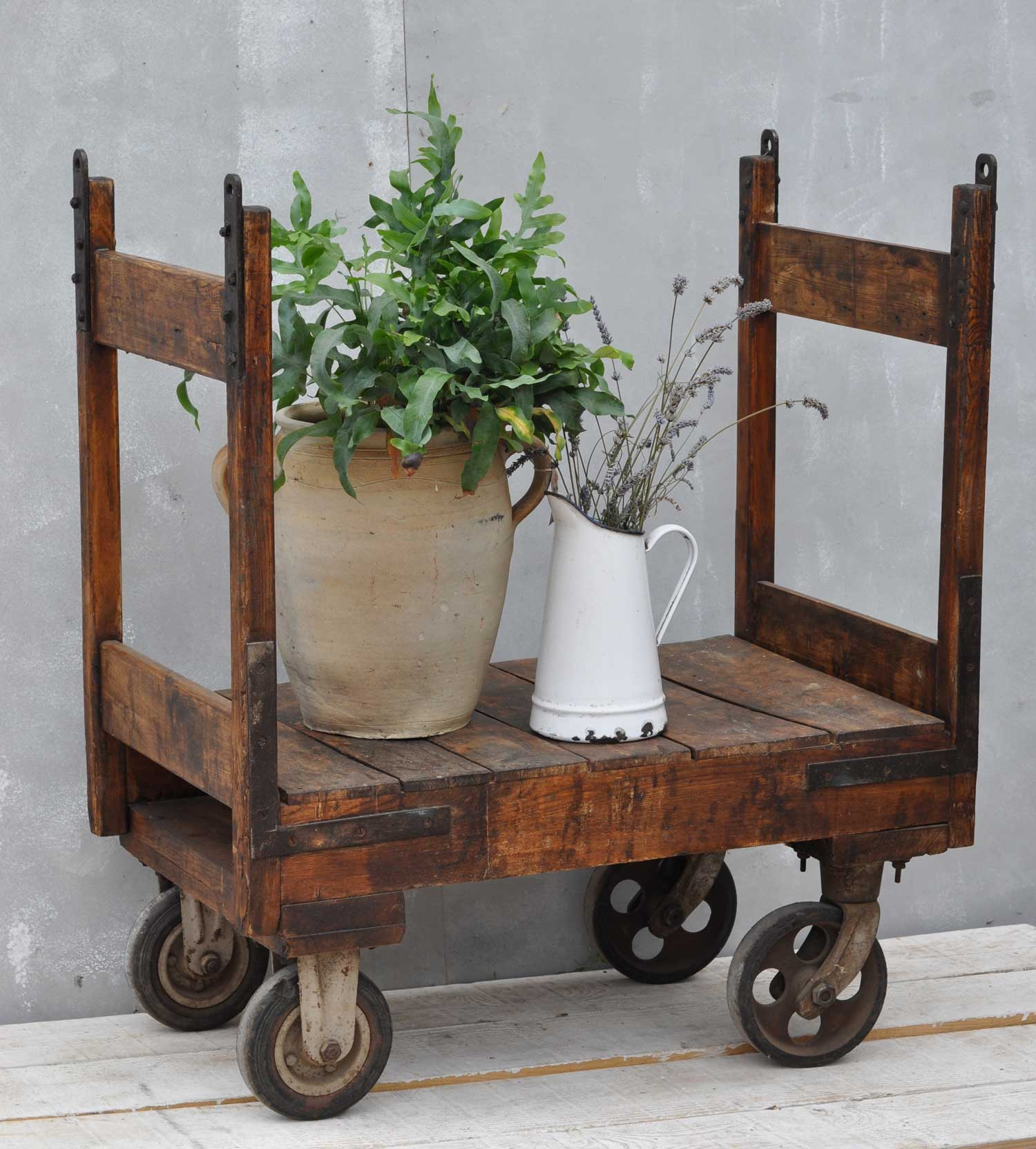 Antique Dutch Market Porter Cart - Iron and Timber