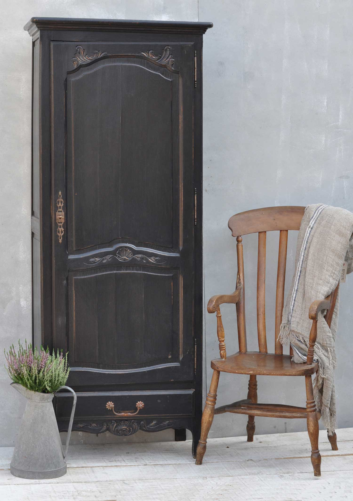 Antique Hand Painted Oak Single Door Small French Armoire