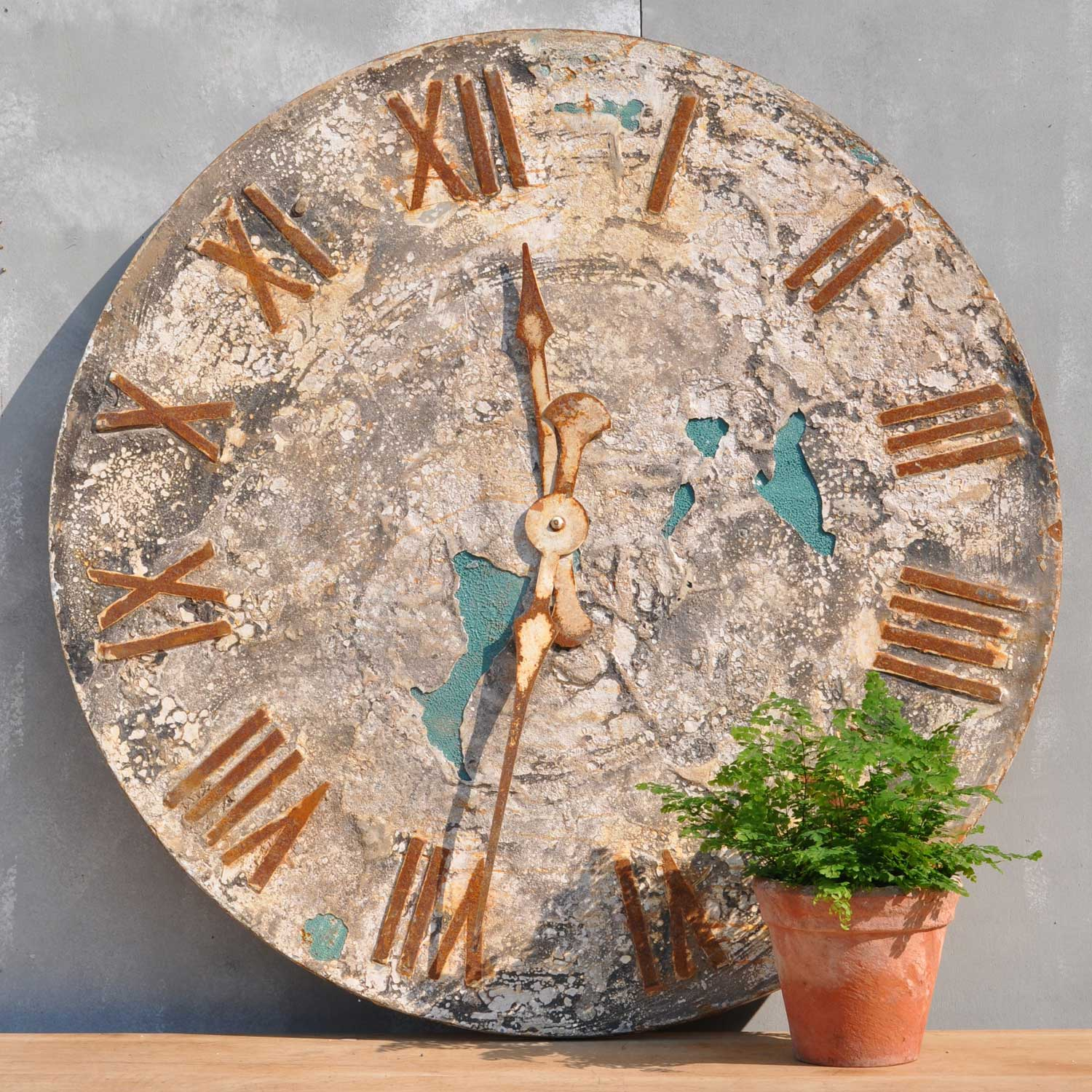Decorative Folk Art Style Rustic Clock Face Artwork
