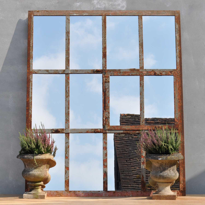 Industrial Cast Iron Warehouse Window Mirror Oblong