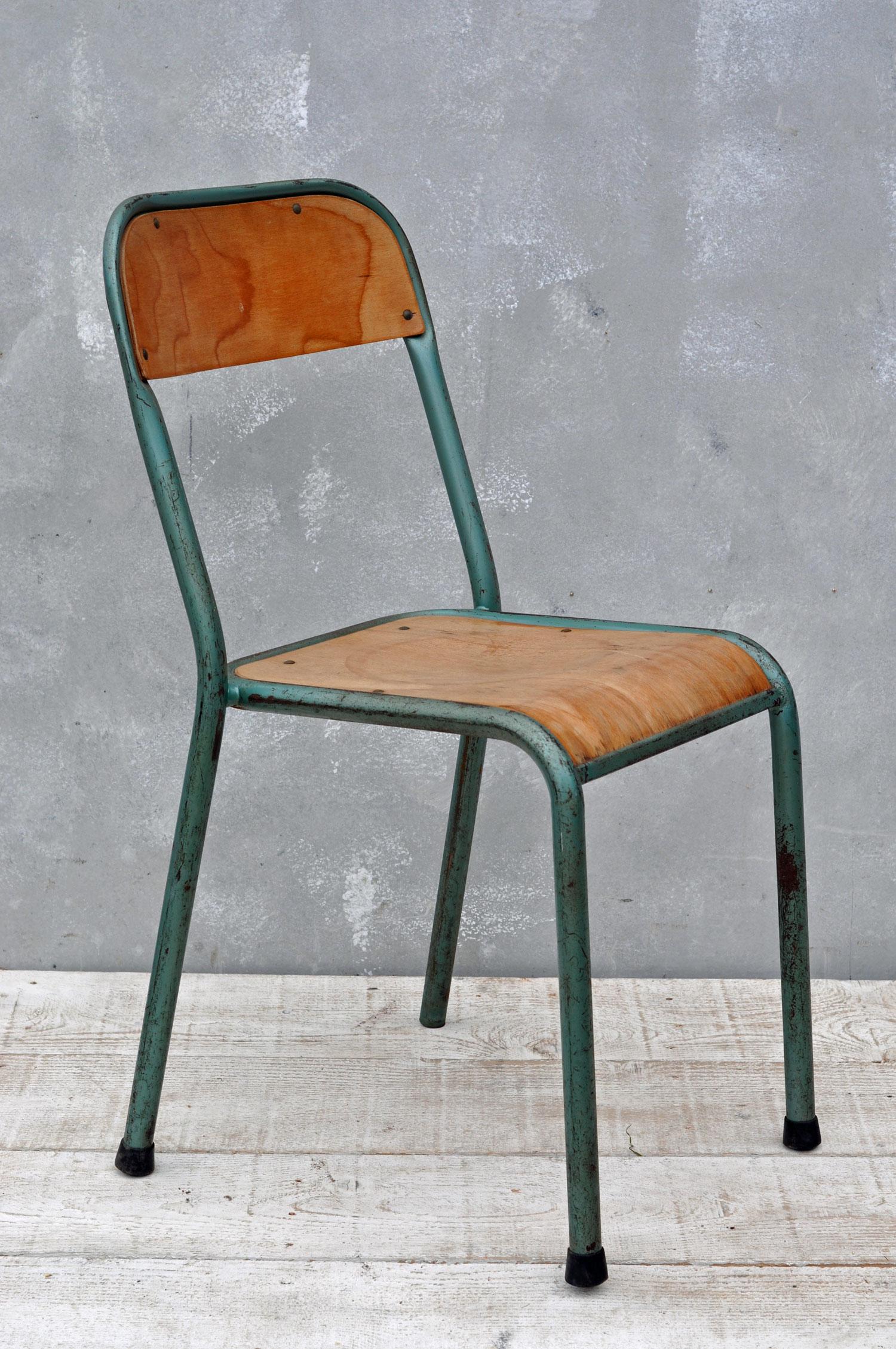 Vintage Industrial Metal Frame Set of Three Chairs