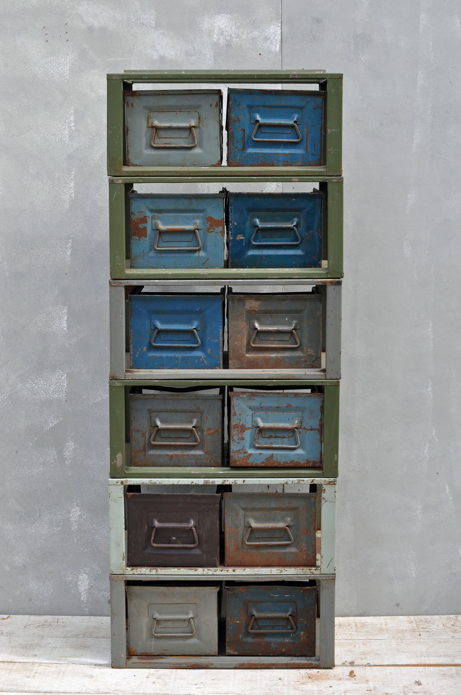 Two Drawer Industrial Metal Modular Drawer Unit