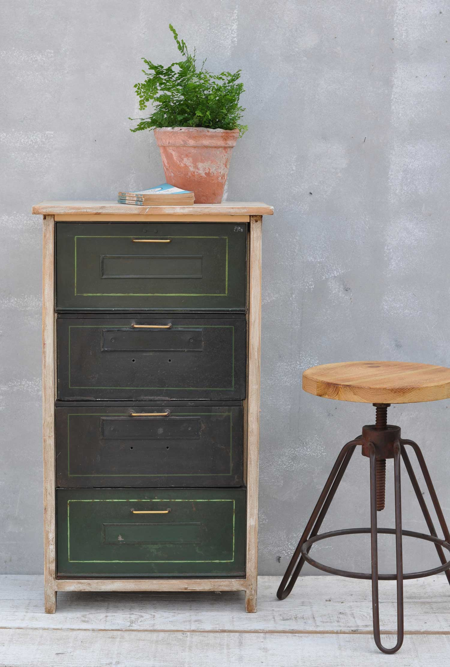 Vintage Pull Down Metal Filing Drawer Cabinet