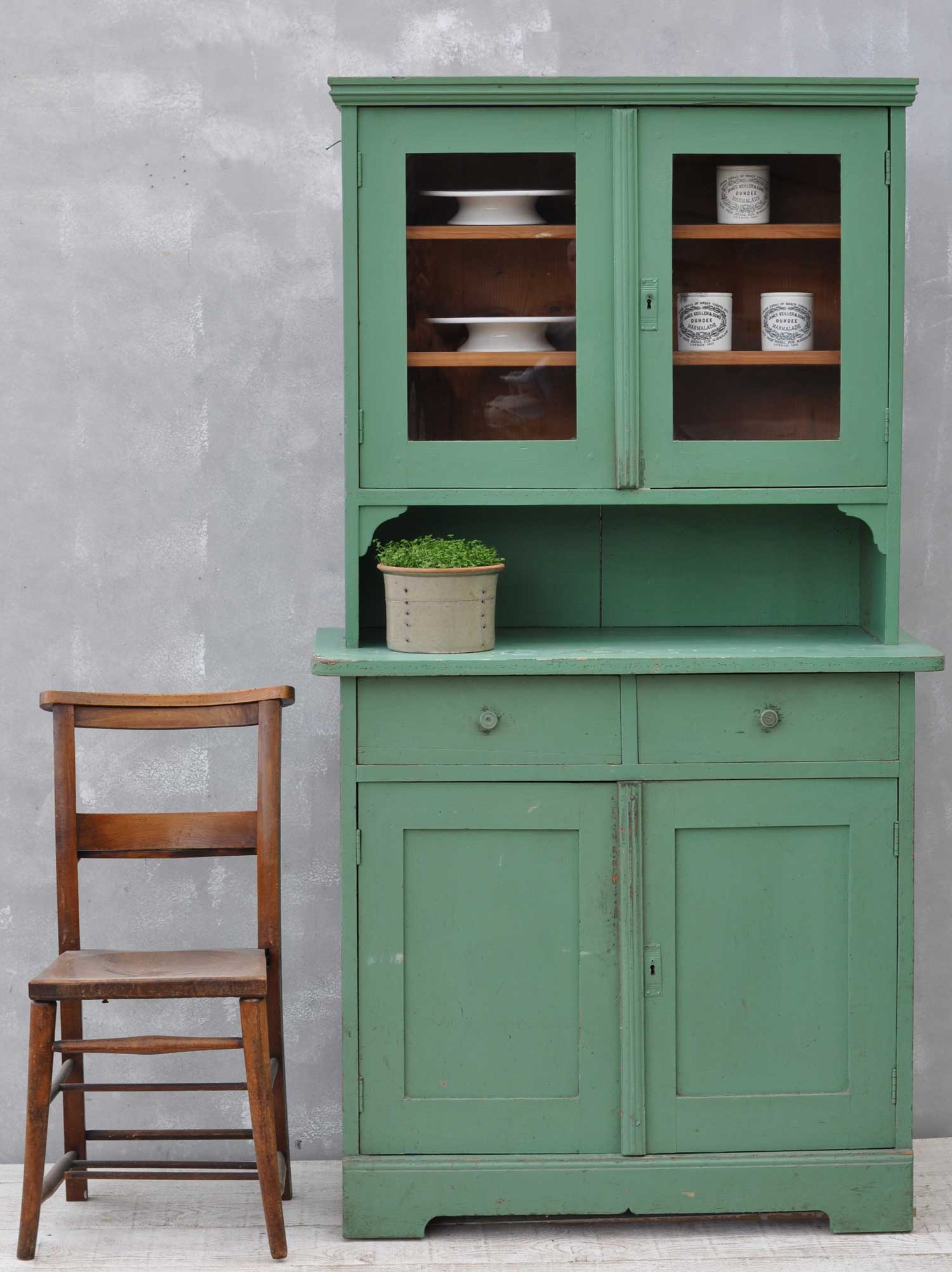 Vintage Eastern European Original Paintwork Green Dresser