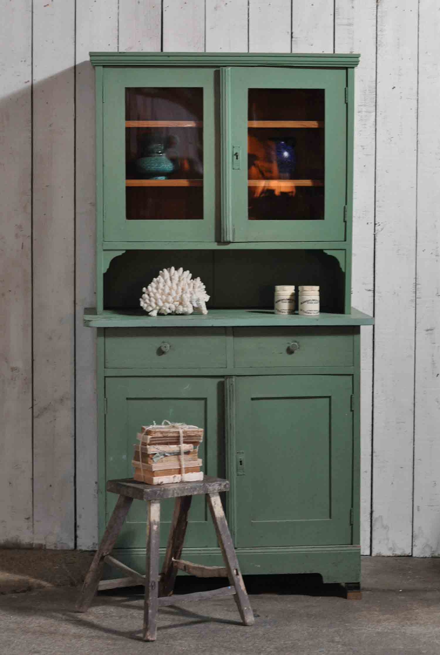 Antique French Hand Painted Green Dresser