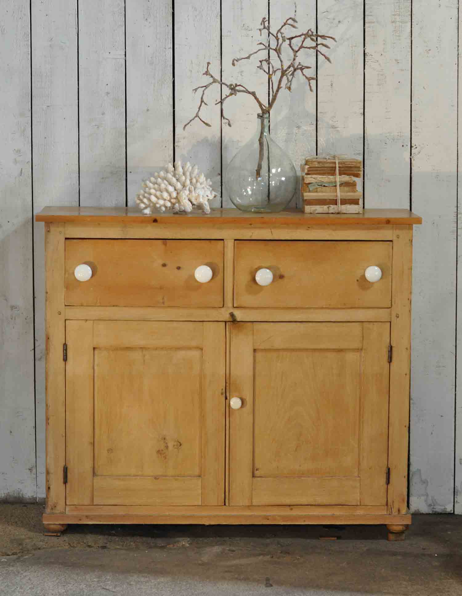 Antique Pine School Cabinet Two Drawers over Two Cupboard Doors