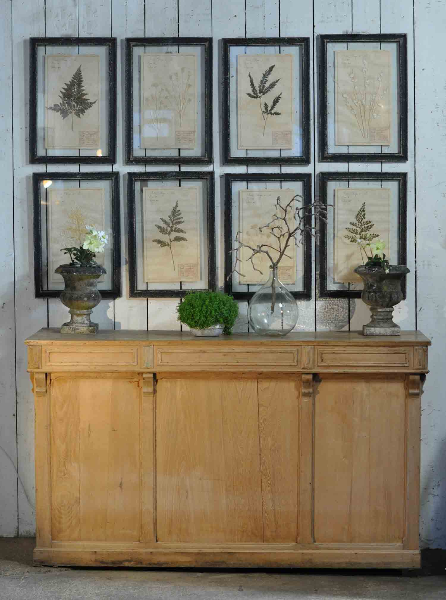 Antique Victorian Panelled Pine Shop Counter