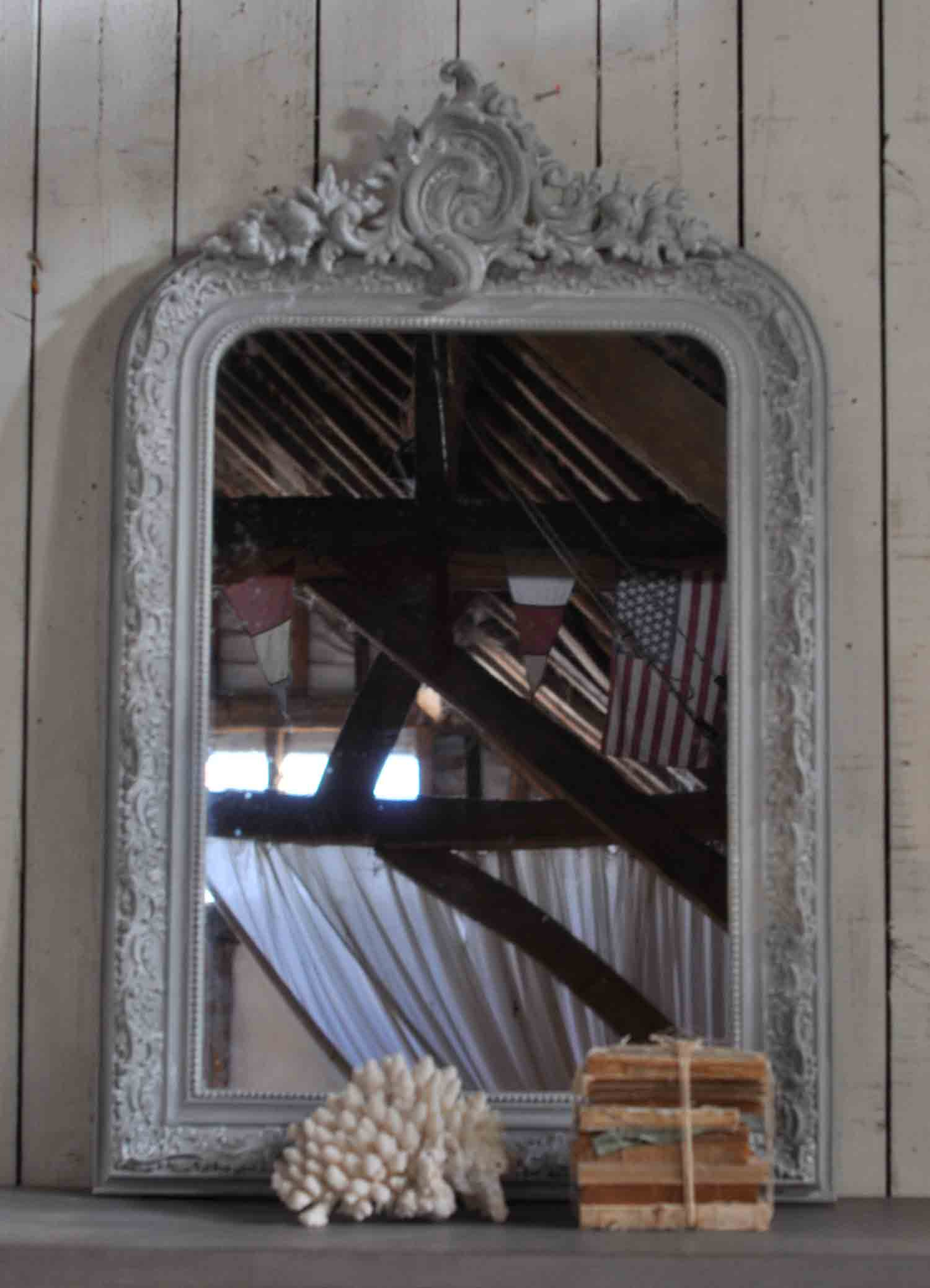 Early 1900's Antique French Ornate Mirror in Whitewashed French Grey