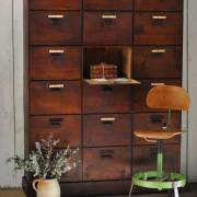 Industrial-vintage-rustic-eighteen-door-Locker-unit