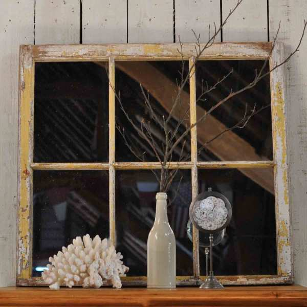 Reclaimed Vintage Industrial Timber Window Mirror White Patina