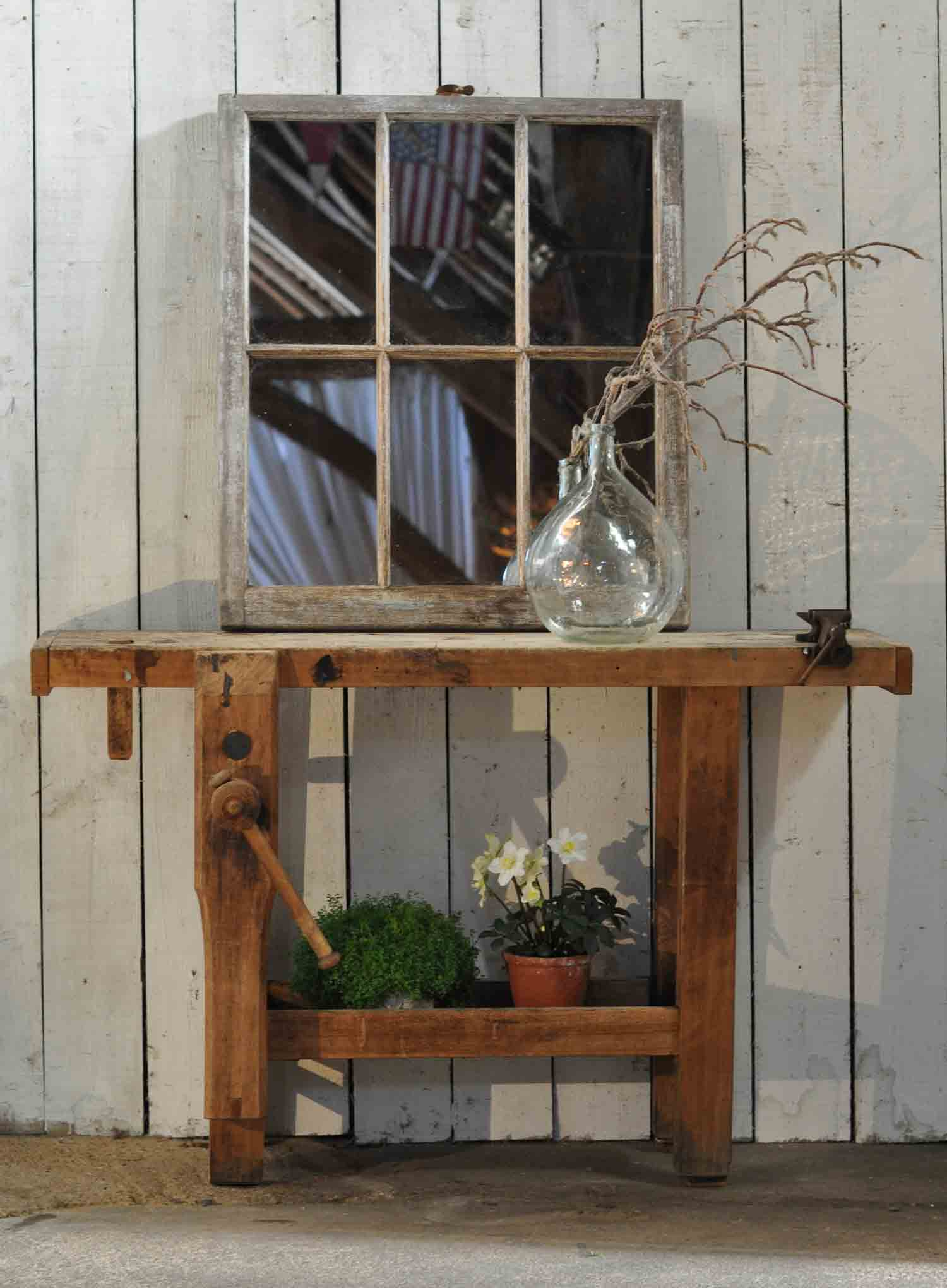 Vintage Solid Timber Console Table Work Bench With Vice
