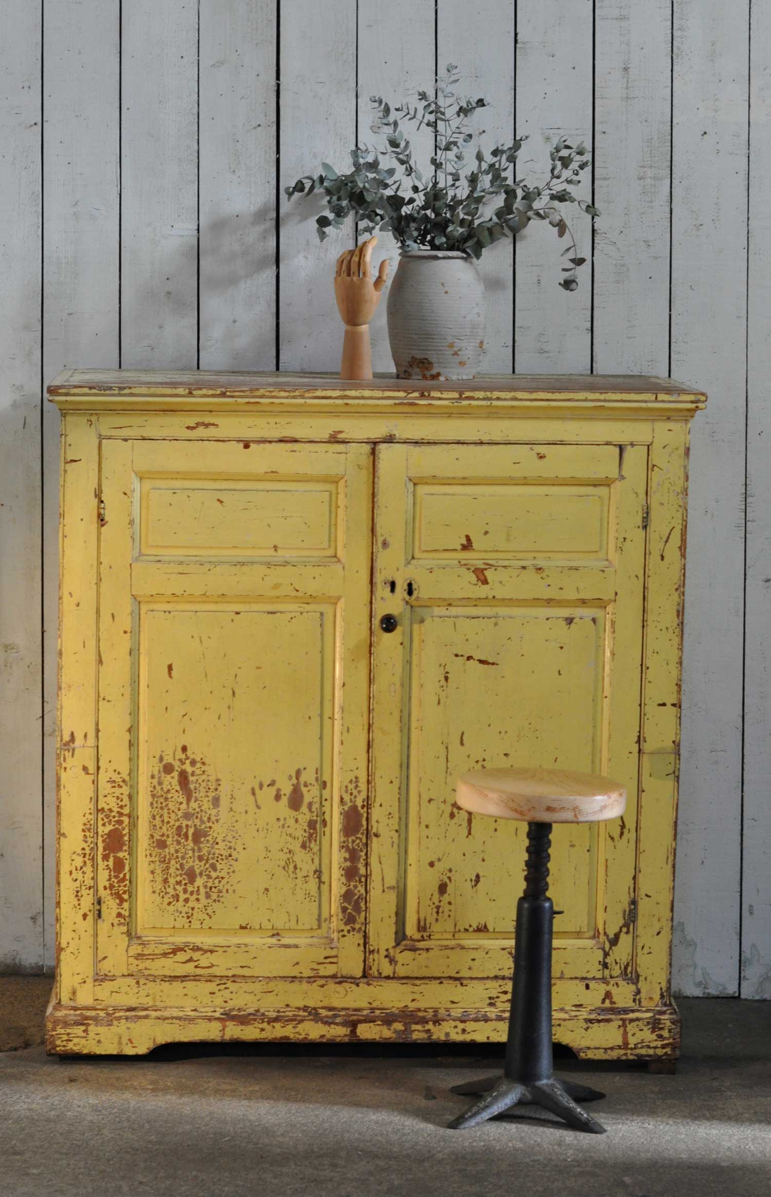 Vintage Solid Wood Yellow Cupboard Original Patina Paintwork