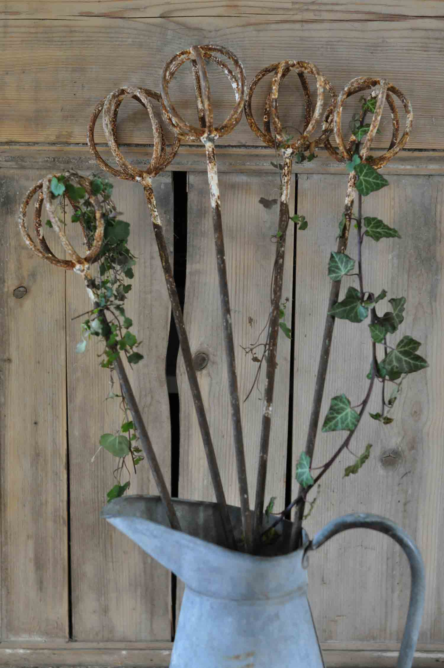 Antique French Cast Iron Spherical Gardening Supports
